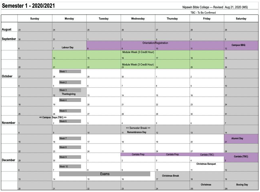Kalender Semester
